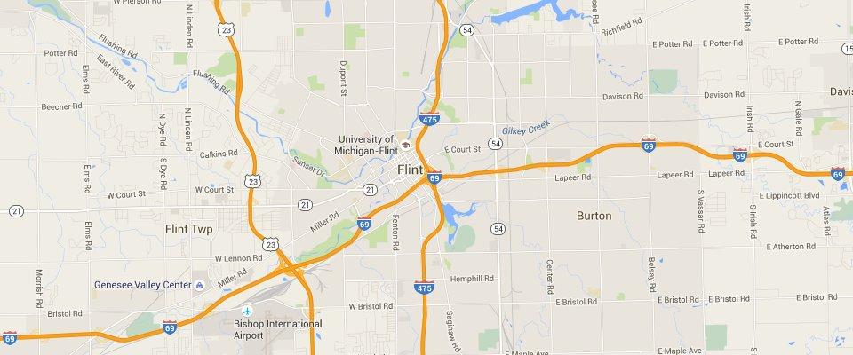 Flint Waste Disposal Dumpster Rental Service Area Map